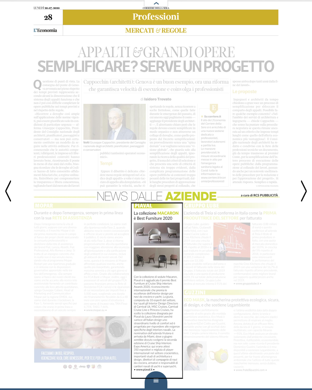 Macaron lounge featured by Il Corriere della Sera Business Supplement