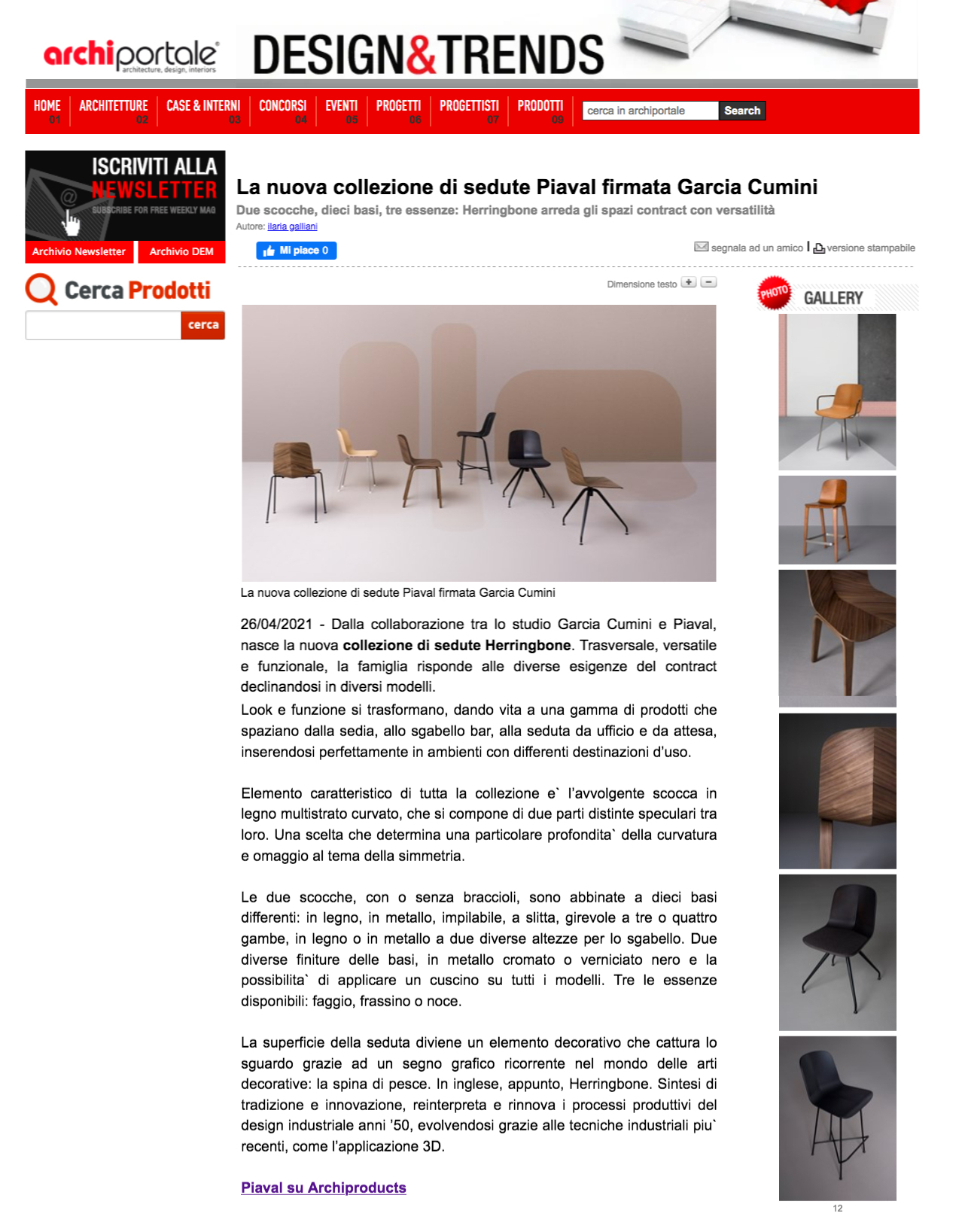 Archiportale article about Herringbone collection