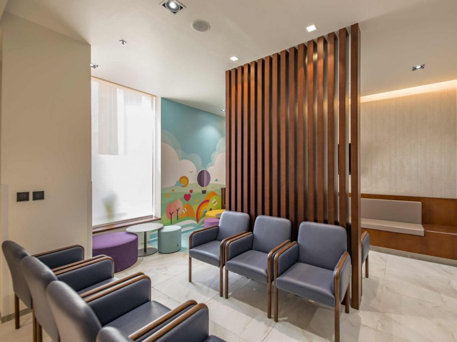 The waiting area of the Beverly Clinics with Cameo armchairs