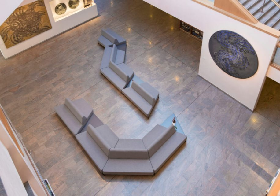 Cameo modular sofa in hte foyer of Nuovo Teatro Giovani da Udine from above