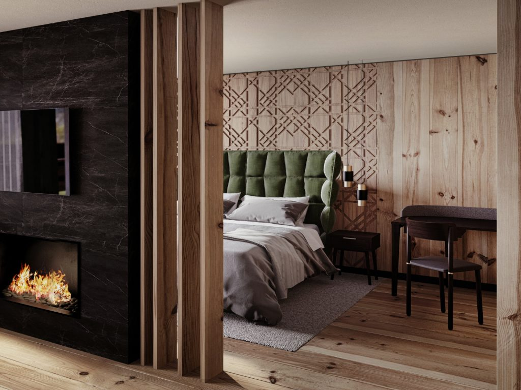 A wooden suite of Hotel Granbaita Dolomites furnished with Pipe chair