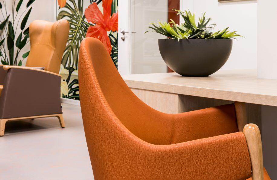 Detail of Liv armchair in Scheldehof