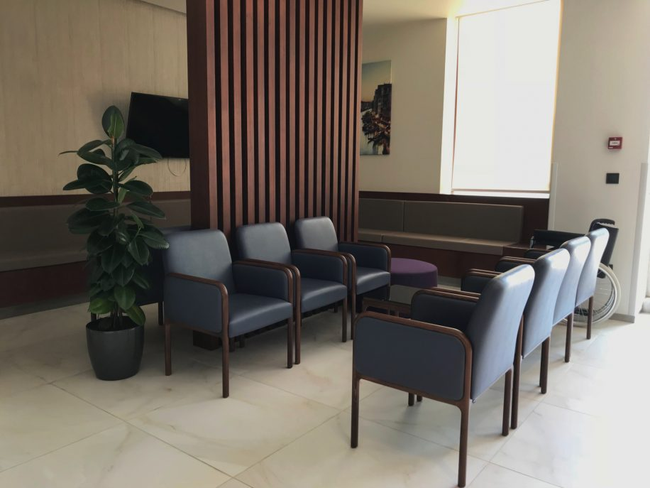 Small waiting area in Beverly Clinics furnished with the Cameo armchairs
