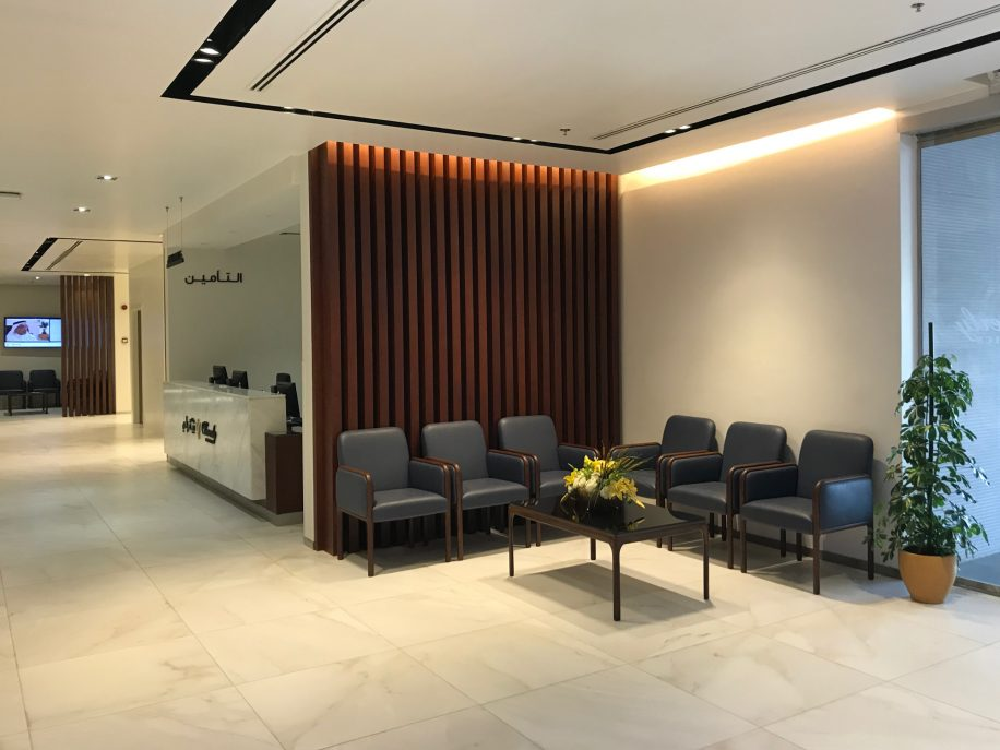 A corner of Beverly clinics furnished with Cameo armchair and coffee tables