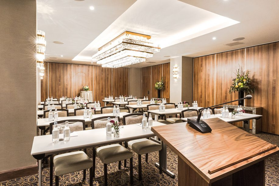 A small conference room in Montcalm Royal London House Hotel with Fandango chairs