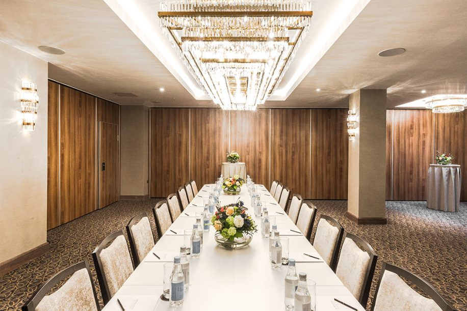 An elegant meeting room of the Montcalm Royal London House Hotel with Fandango chairs