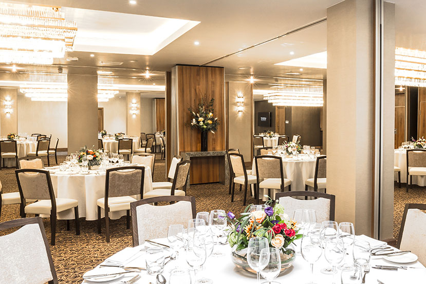 the main dining room of the Montcalm Royal London House Hotel furnished with Fandango chairs