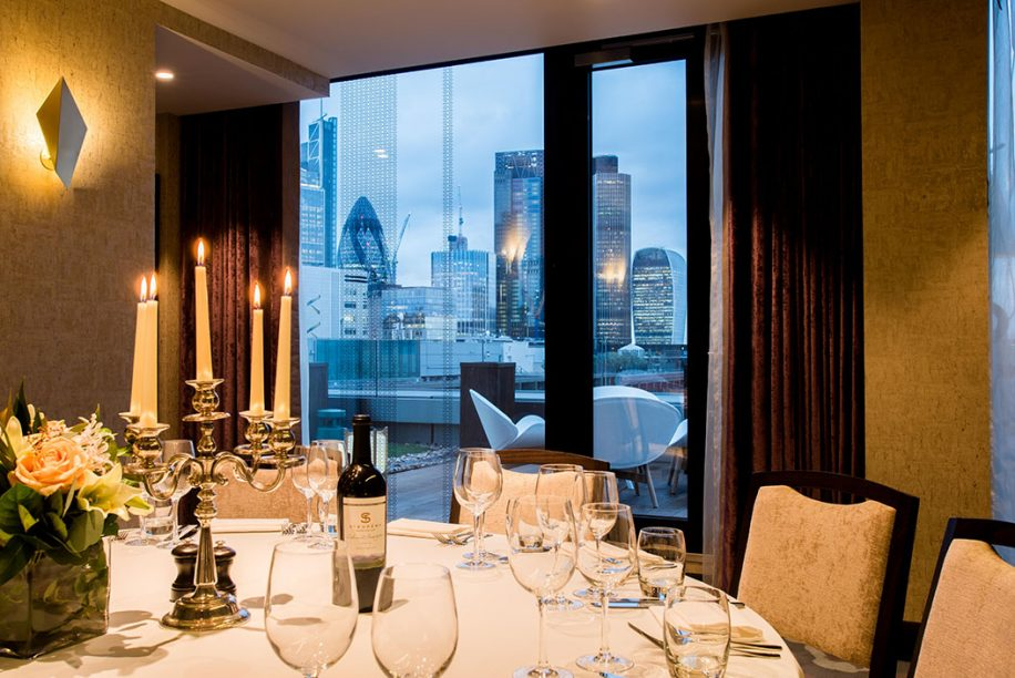 A private dining room with wonderful view from Montcalm Royal London House Hotel